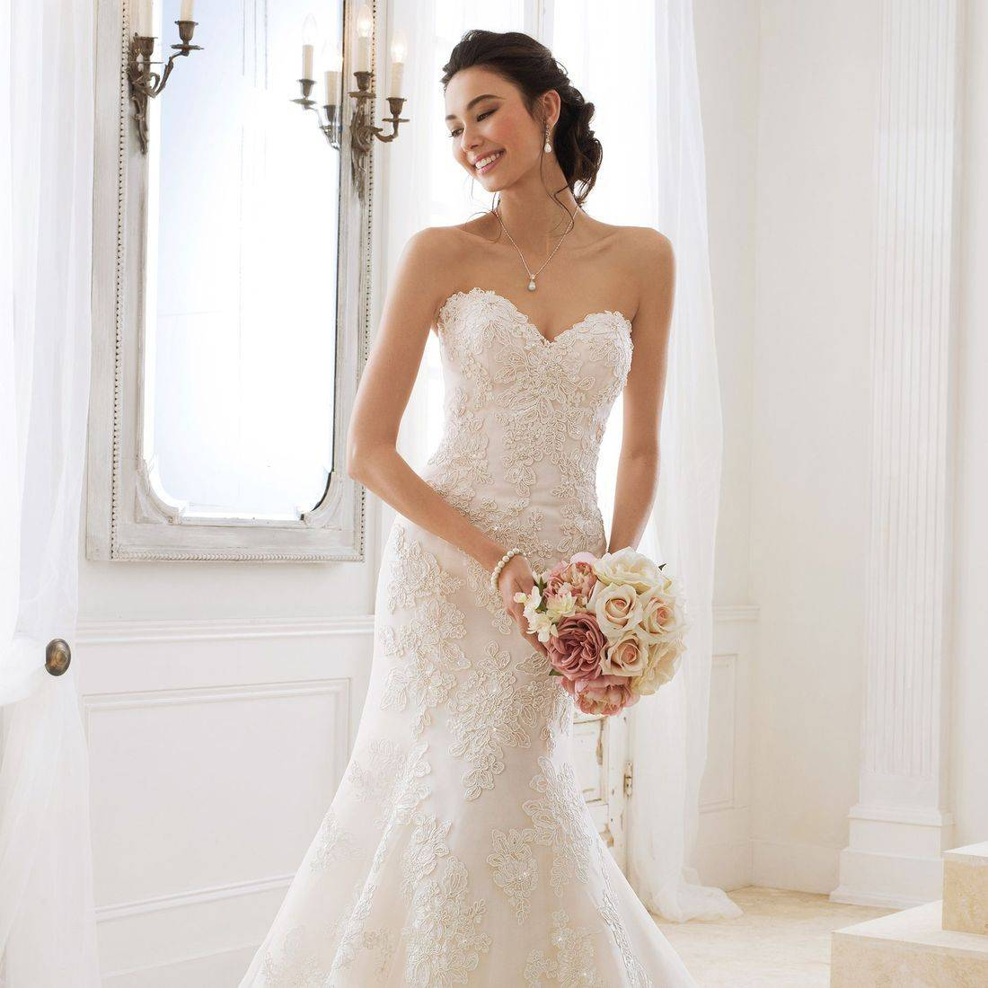 Sophia Tolli, Sophia Tolli wedding dress, fit and flare wedding dress, lace wedding dress, corset back wedding dress