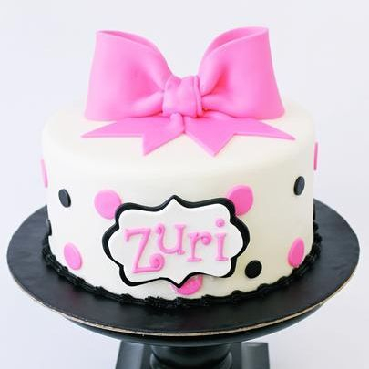 Custom Pink Black Polka Dot Cake Milwaukee