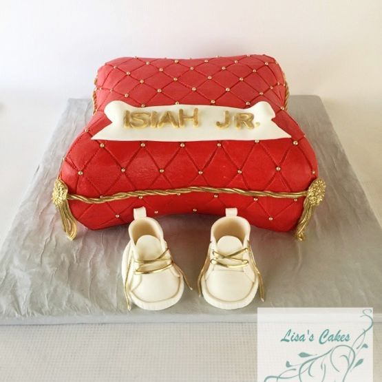 Pillow and Shoes Baby Shower Cake
