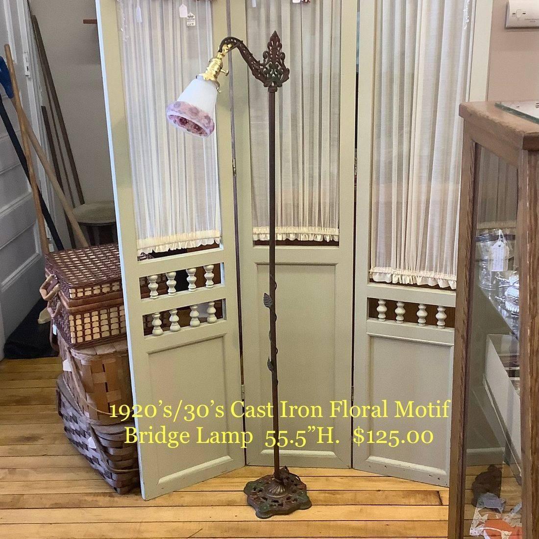 1920's/30's Cast Iron Floral Motif Bridge Lamp   $125.00