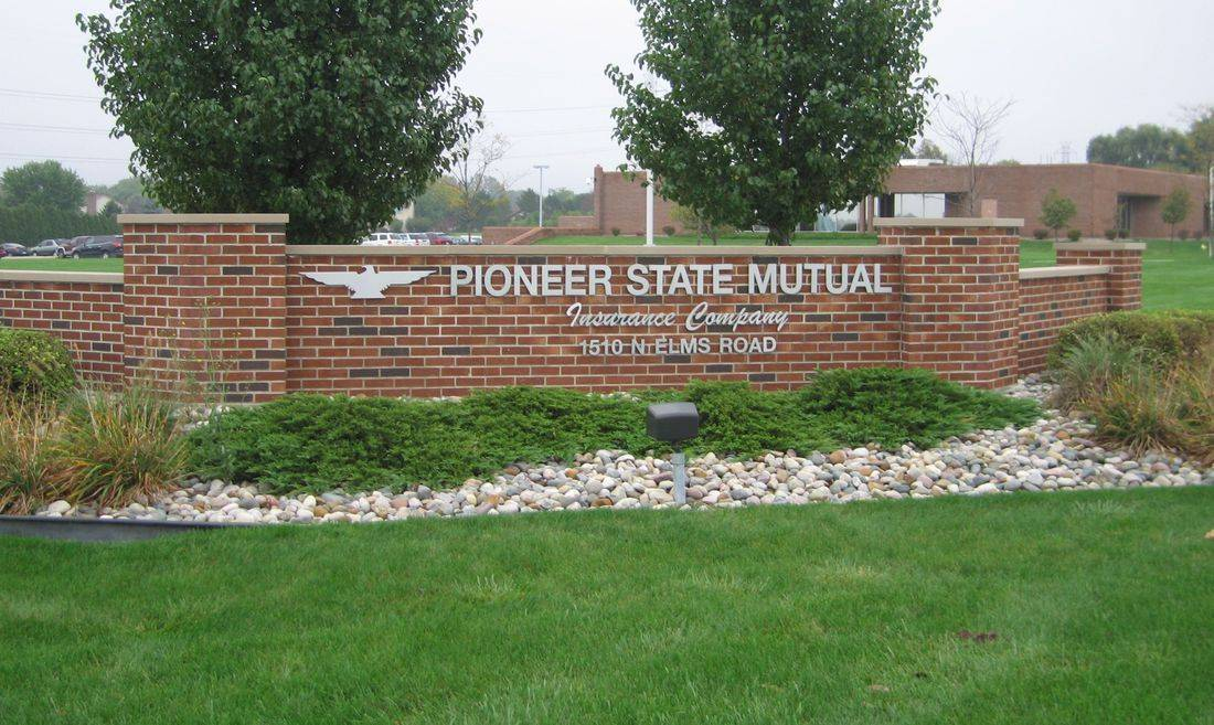Three Dimensional Metal Letters on Brick Structure, Monument Signs, Insurance Company