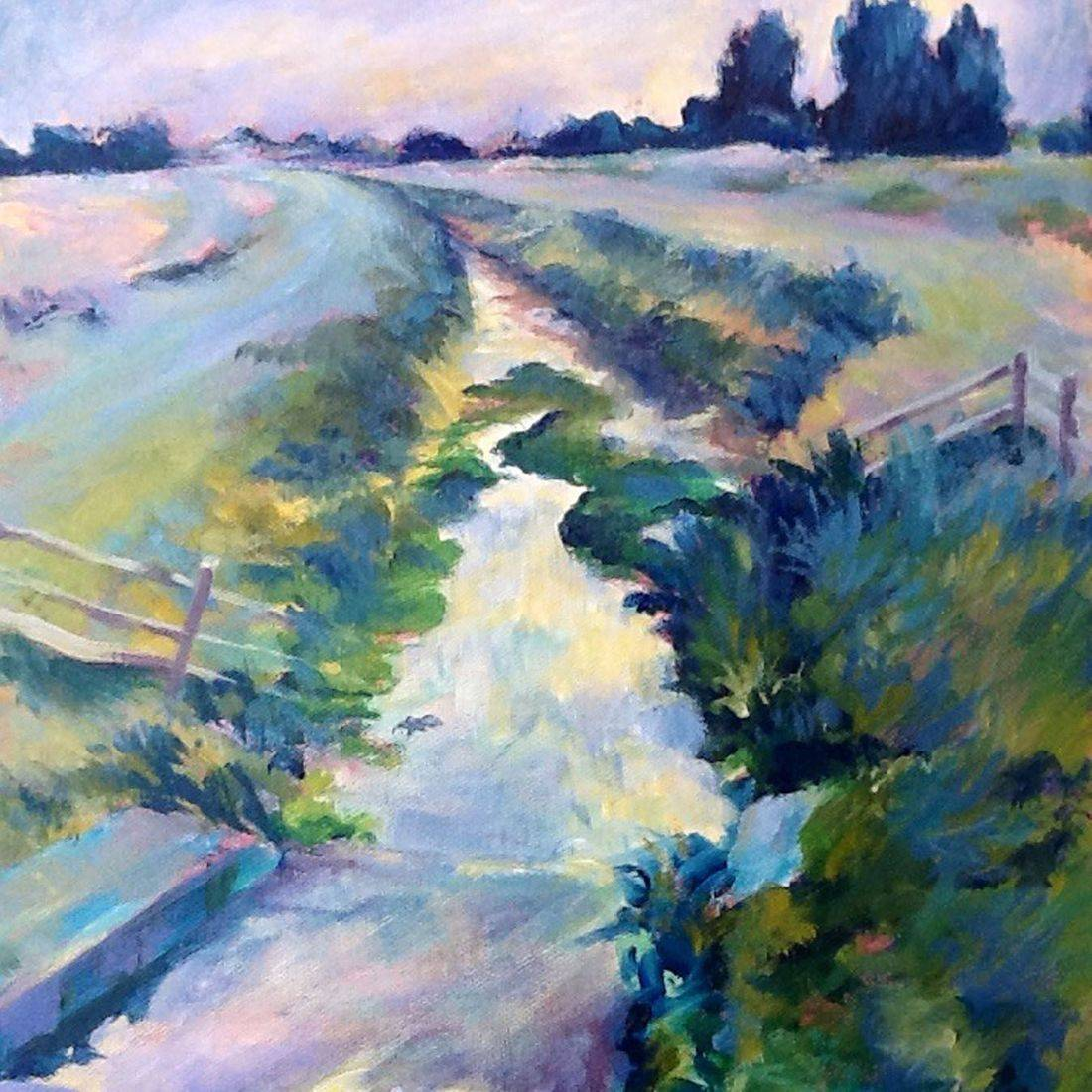 small acrylic landscape painting by Sandra Louisa