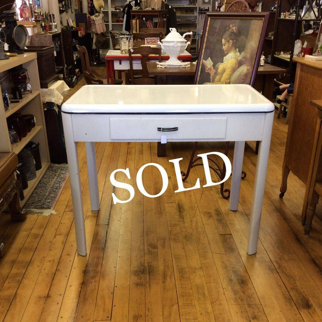 "1937 Crysteel Enamel Top Kitchen/Work Table w/Drawer 39-1/2""W x 26-1/2""D x 30""H.  $75.00"