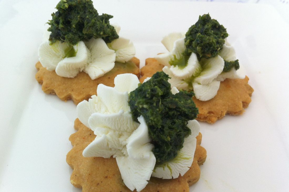 Chevre Pesto Canape with Jalapeno cracker