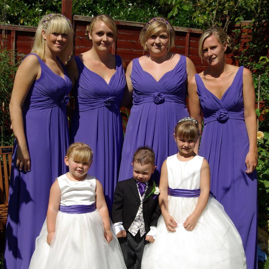 Bridesmaids in Purple chiffon dresses