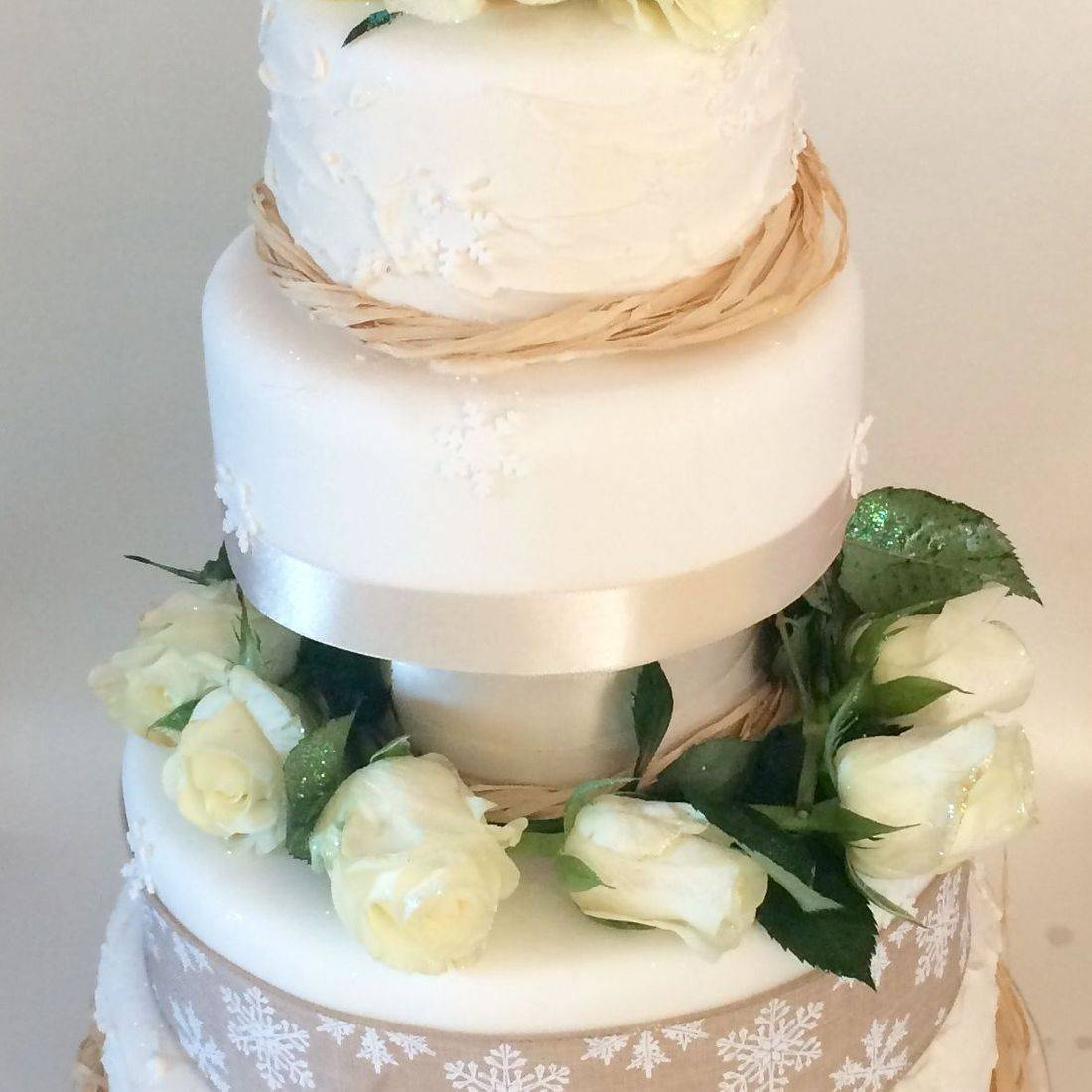 Snowflakes and Roses Wedding Cake  Fabu-Lous Cakes
