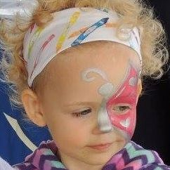 Little girls and butterfly face paint