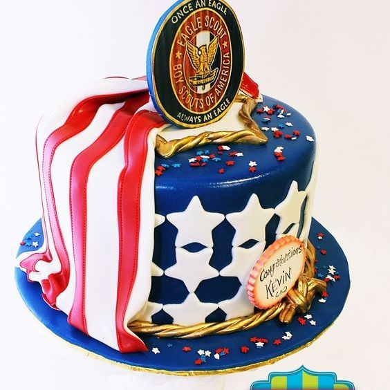 Custom Scout Badge Patriotic Cake Milwaukee