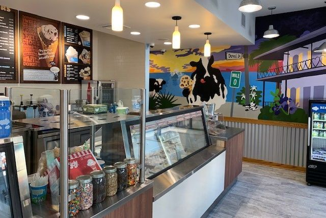 Ben and Jerry's Key West ice cream cases & custom hand painted mural