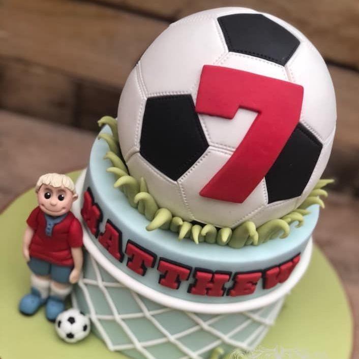 birthday cake football ball character net goal