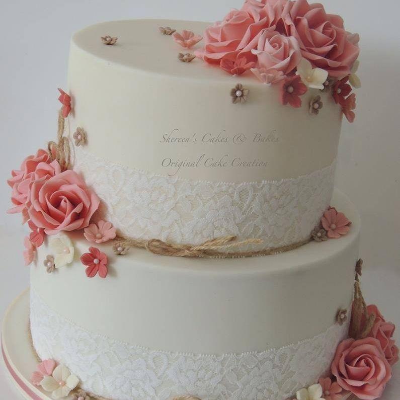 Rustic Dusky Pink Ivory Wedding Cake Vintage