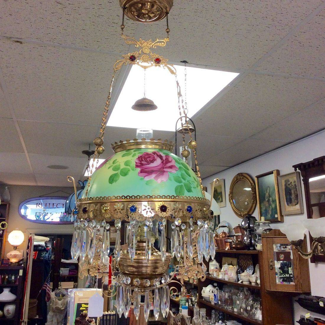 1970's John Scott Hanging Parlor Lamp w/SOCONY Burner   $475.00