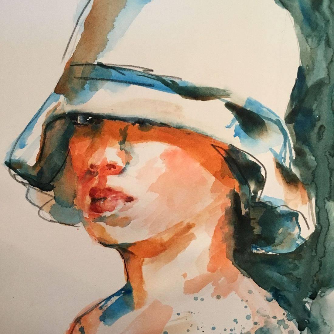 R Putbrese watercolor painting of woman in hat by Rebecca Krutsinger