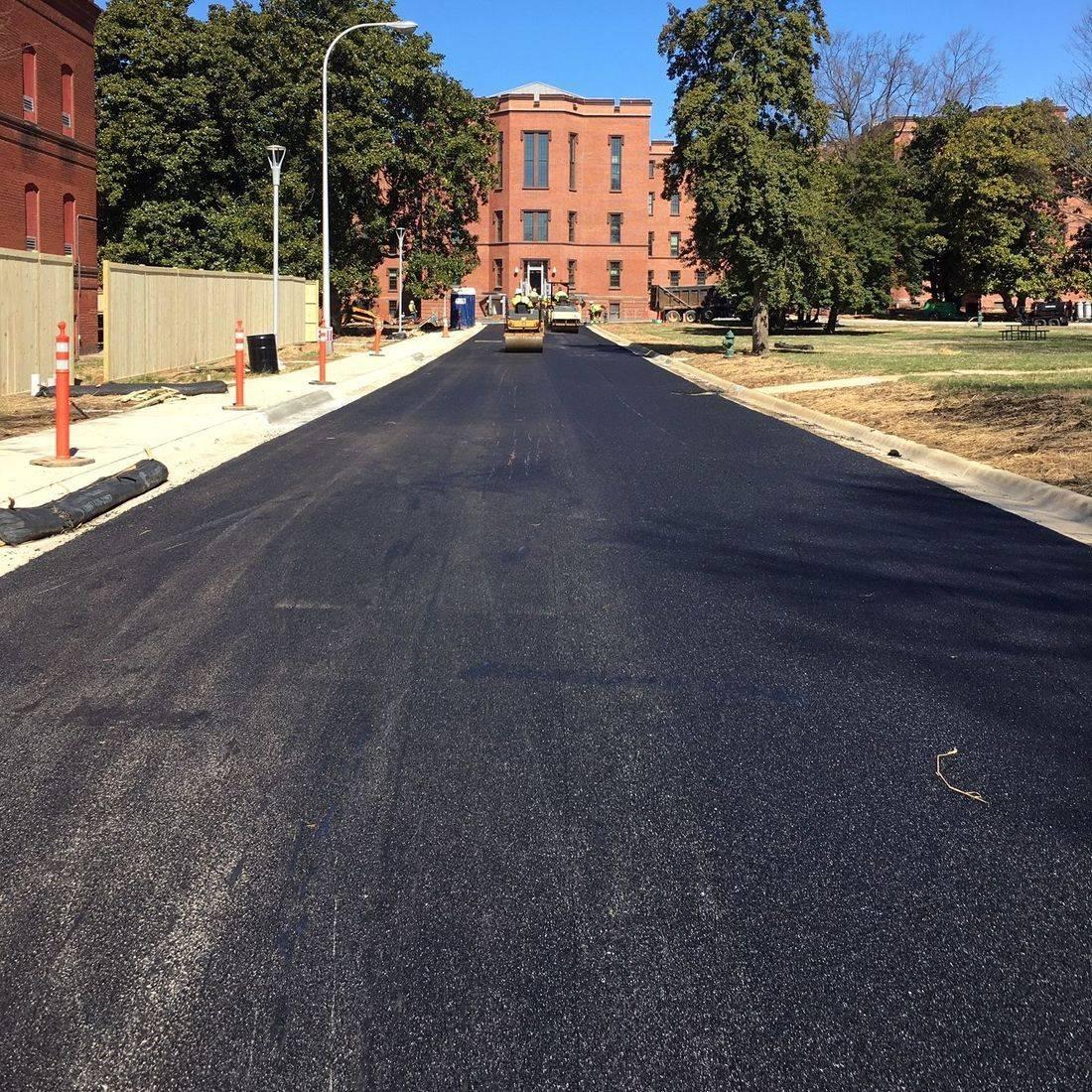finished asphalt roadway on campus