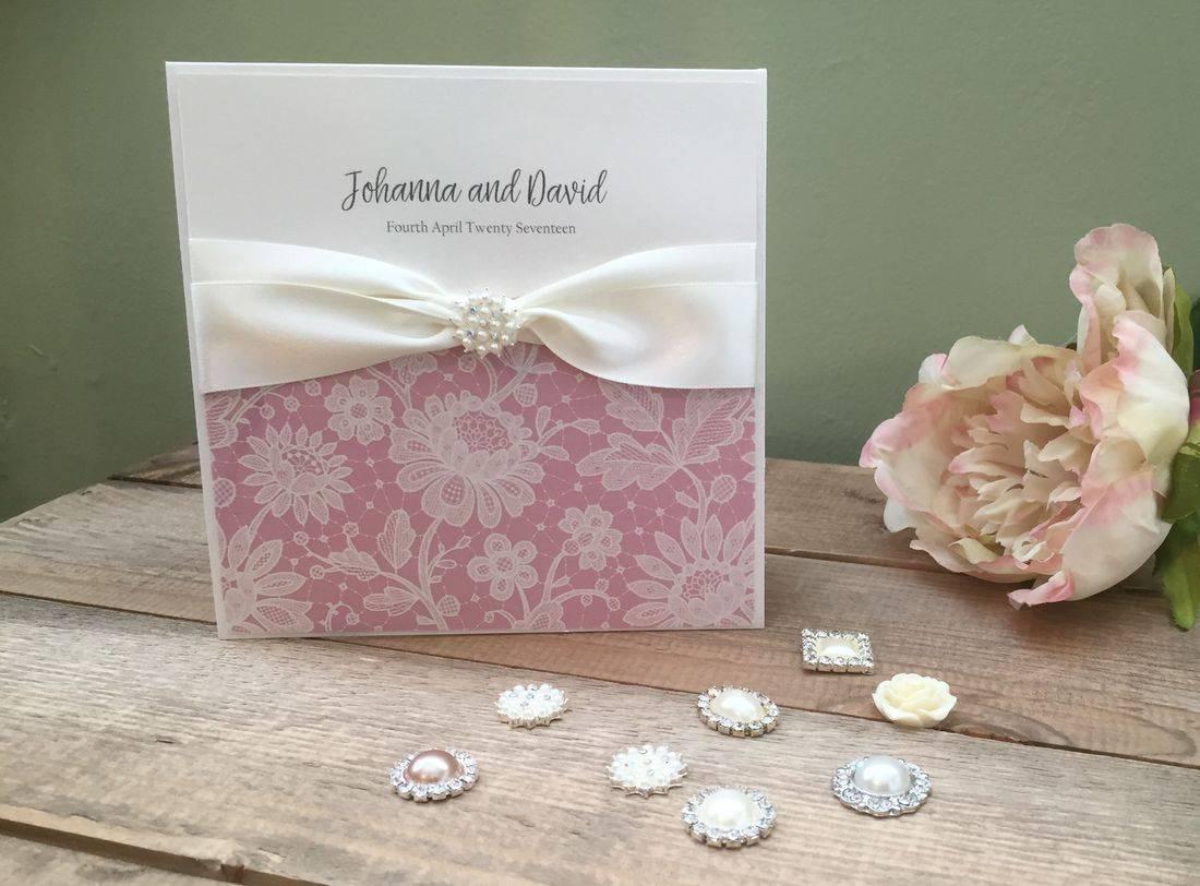 Personalised Luxury Vintage Pocketfold invitations in Dusky Pink