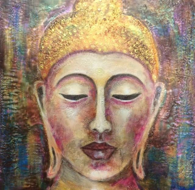 Buddha painting, Encaustic Buddha painting, inspirational art, encaustic art, wax painting, zen art, art for yoga studio, yoga studio decor, meditation art, buddha, buddha oil painting, spiritual art, encaustic artist