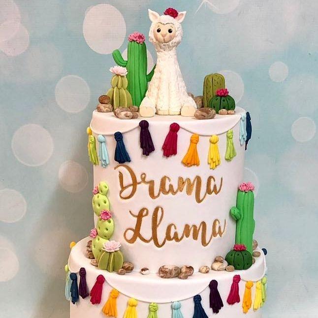 Birthday Cake Llama Cactus Drama Tassels Cacti 13th