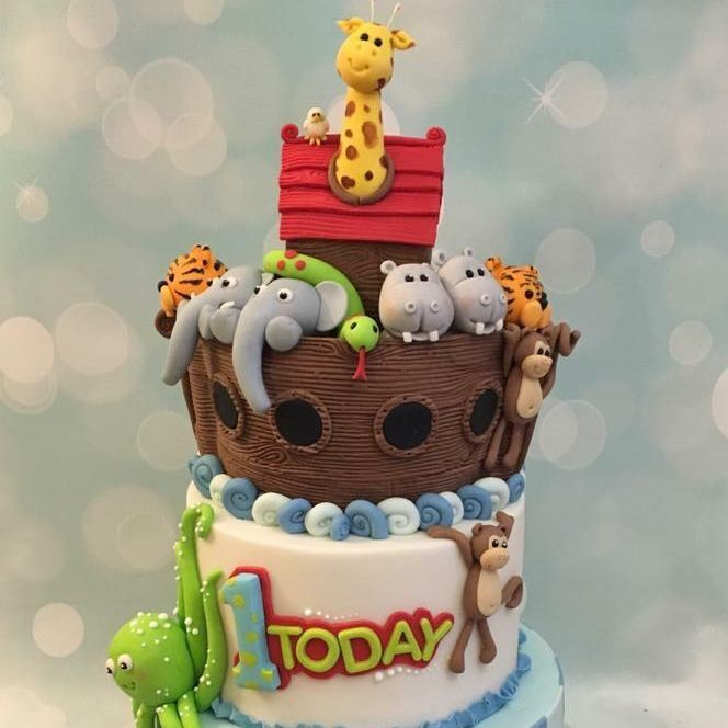 Noah's Ark Cake Animals Octopus Giraffe Elephant Tiger Snake Birthday