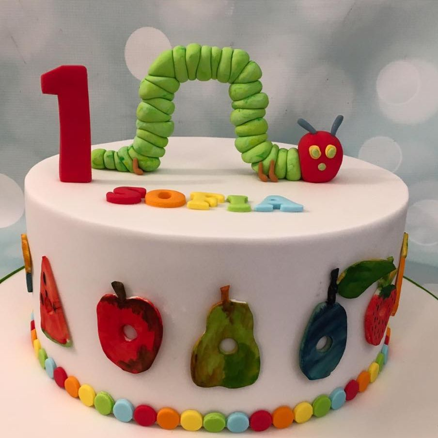 Very Hungry Caterpillar Cake hand Painting 1st