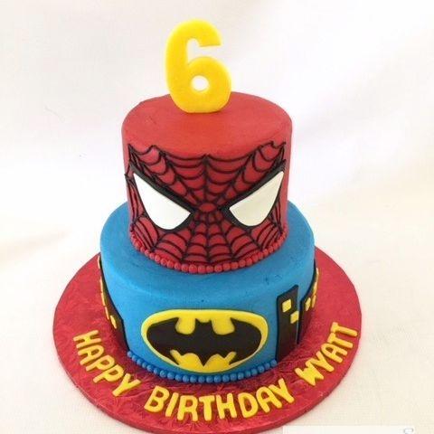 Spiderman and Batman Birthday Cake