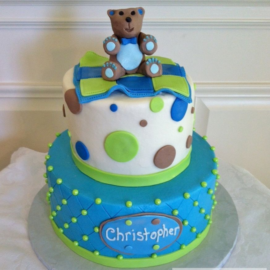 Boy Bear Baby shower Cake