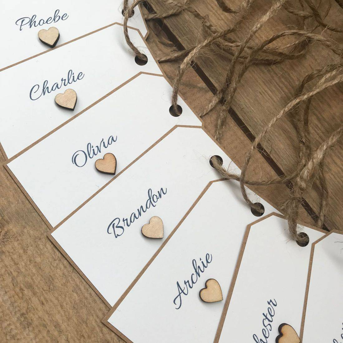 String Tied Name Tags