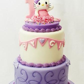 Custom Hello Kitty Purple swirls Cake Milwaukee