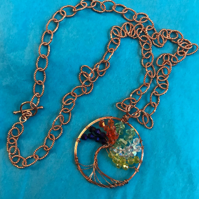 Copper Chain, Ladies copper chain, ladies living tree necklace, women living tree pendent, solid copper necklace, living tree necklace