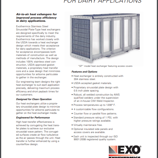 Product sell sheet for heat exchangers.