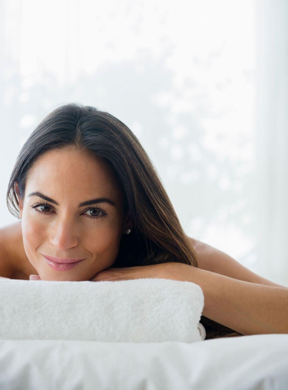 Eva enjoys her 60-Minute Swedish Massage