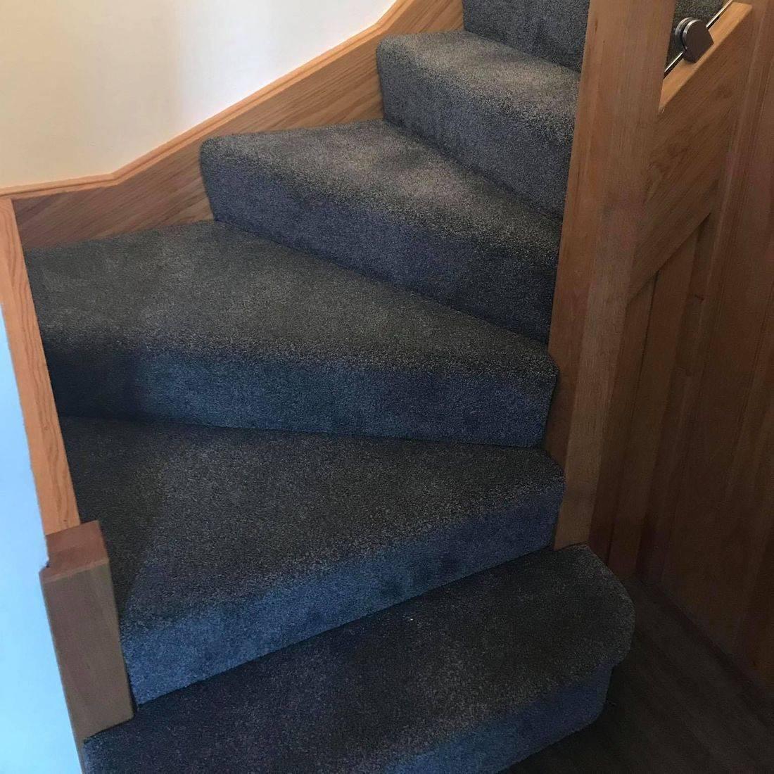 Grey stairs carpet including half landing