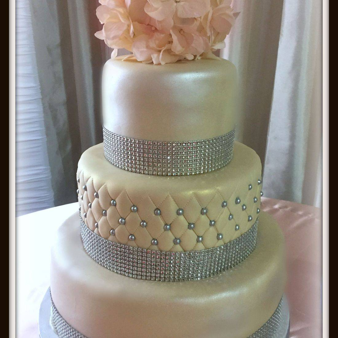 wedding cake quilted with pearls silver crystals pearl cake