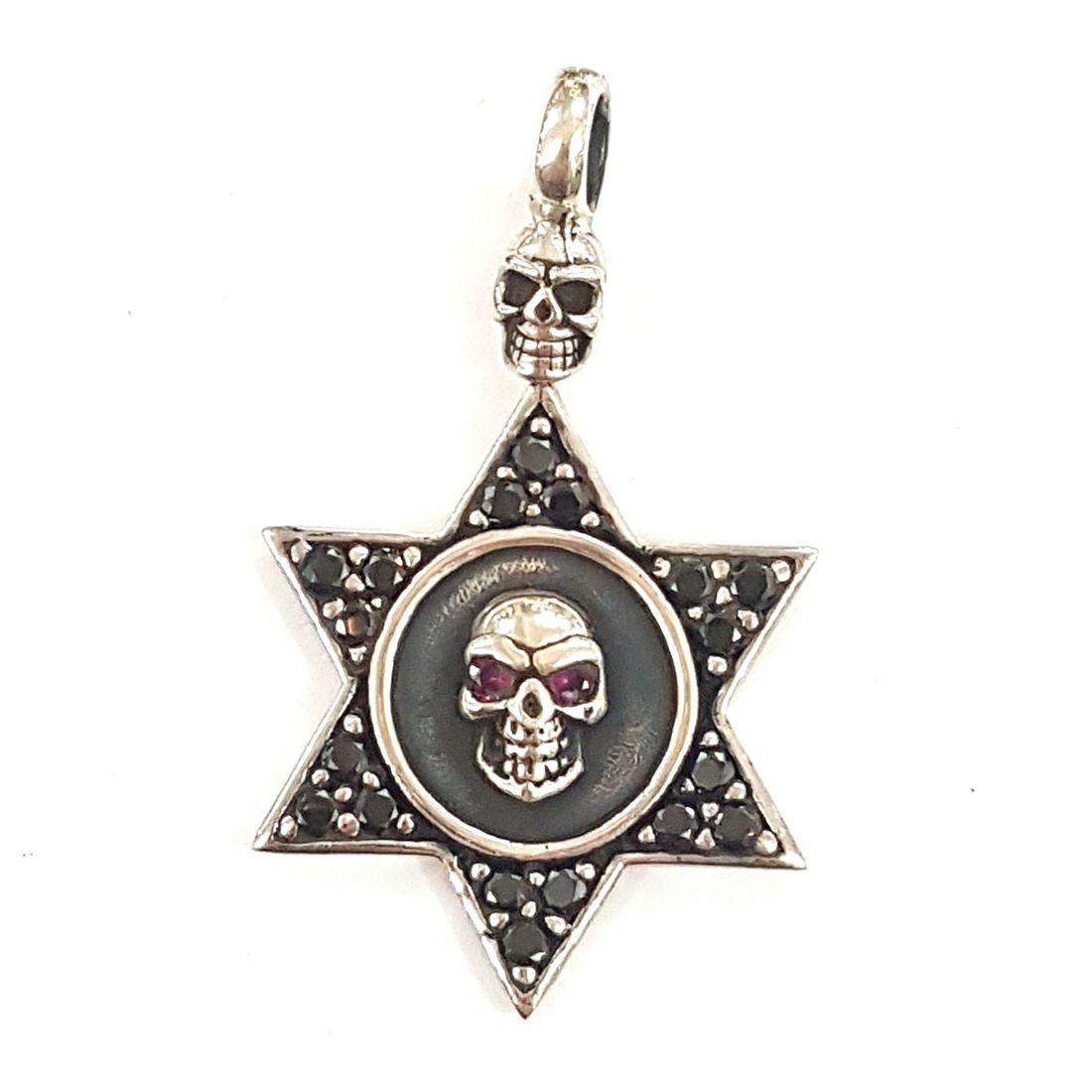Silver star skull pendant  available at Kazbah online and our Leicester City Centre shop