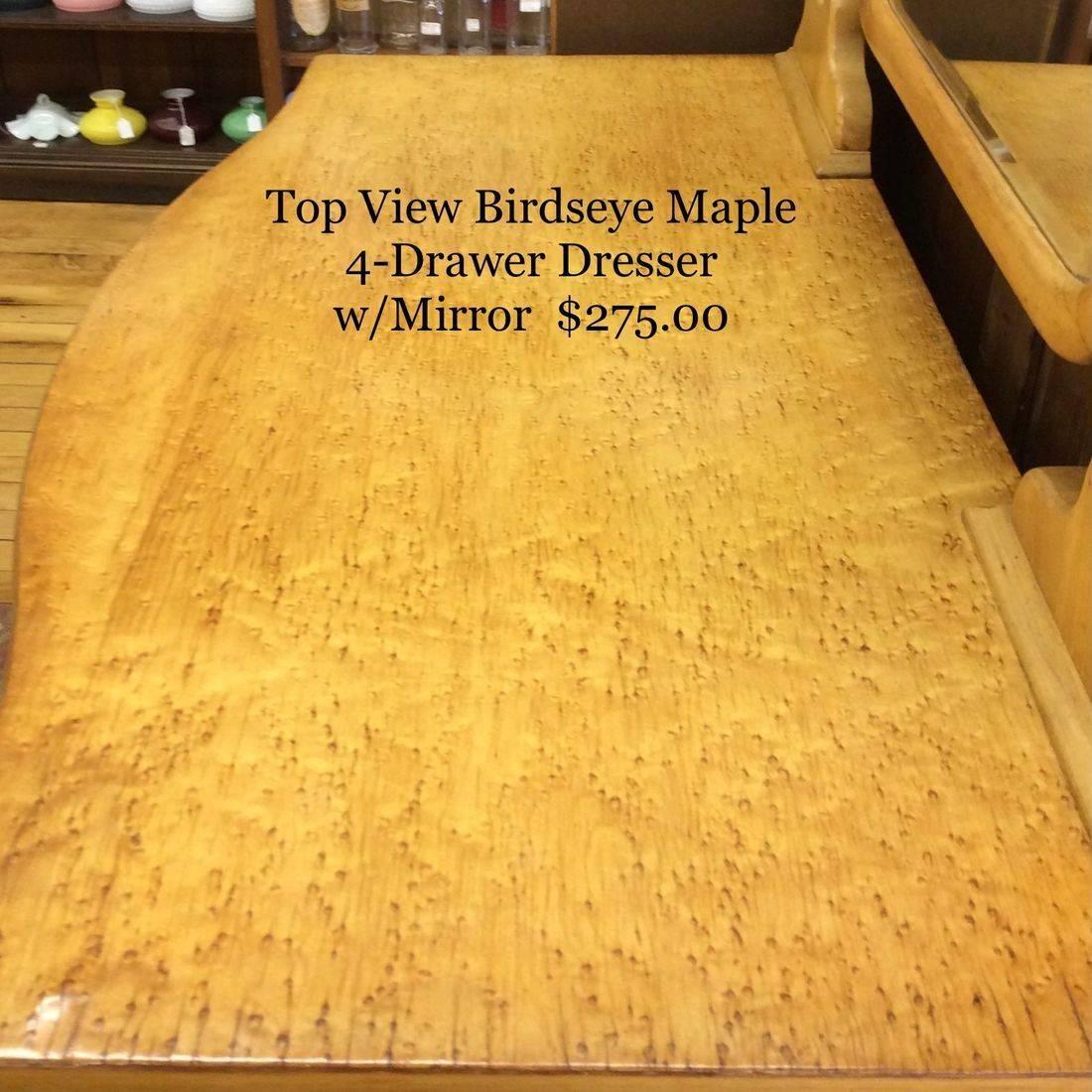 Top Surface of Birdseye Maple Dresser