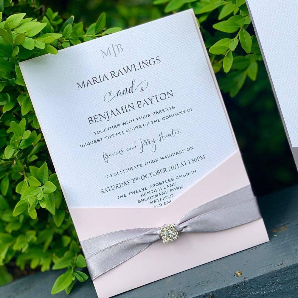 White and glitter luxury Wedding Invitation