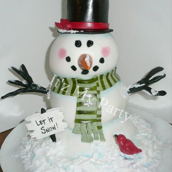 Snowman Winter Dimensional Cake Milwaukee