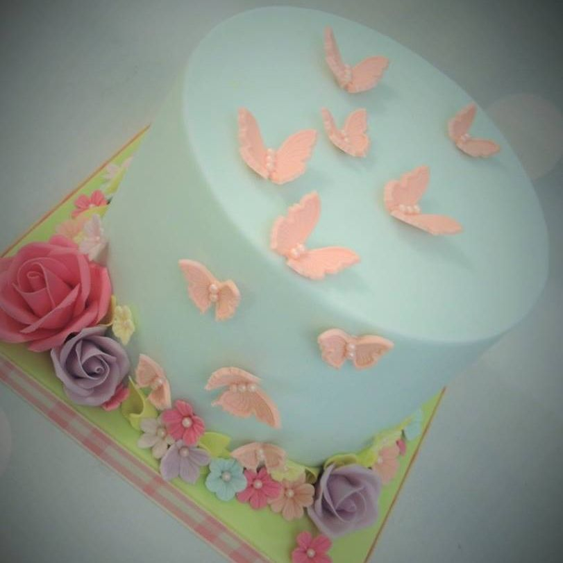 Pretty Rose Butterfly Cake Flowers Pale Blue Coral