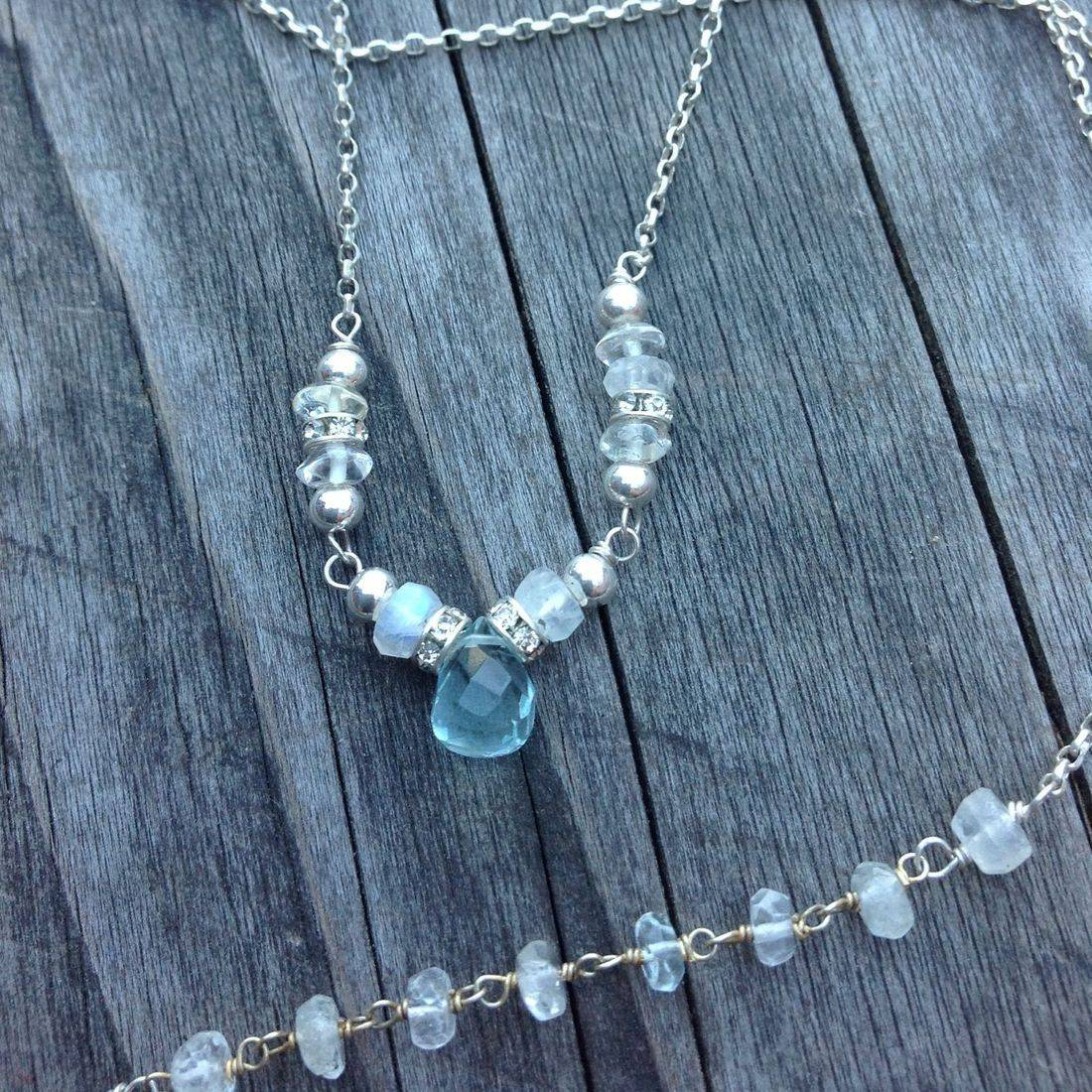 handcrafted gemstone necklace, freshwater pearls,  aquamarine and sterling silver necklace silver chain