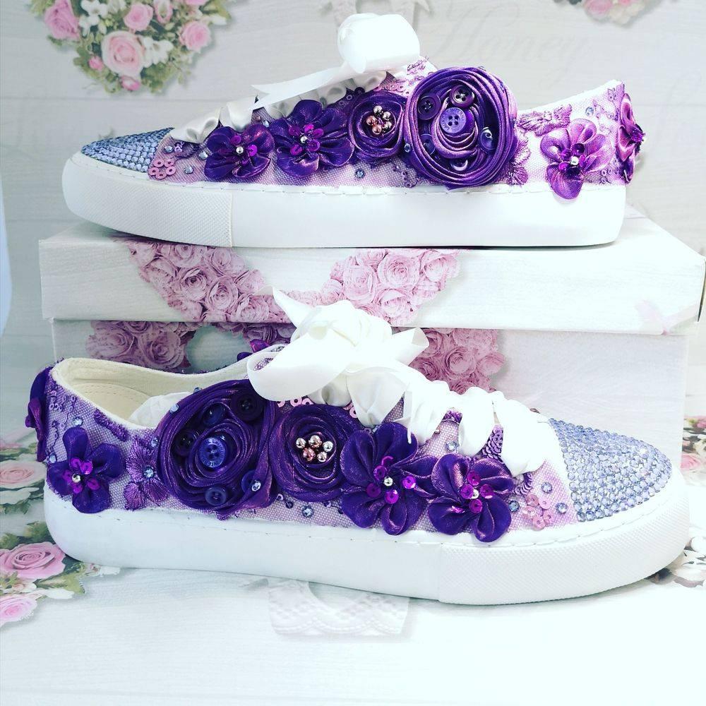 Customised purple Wedding shoes