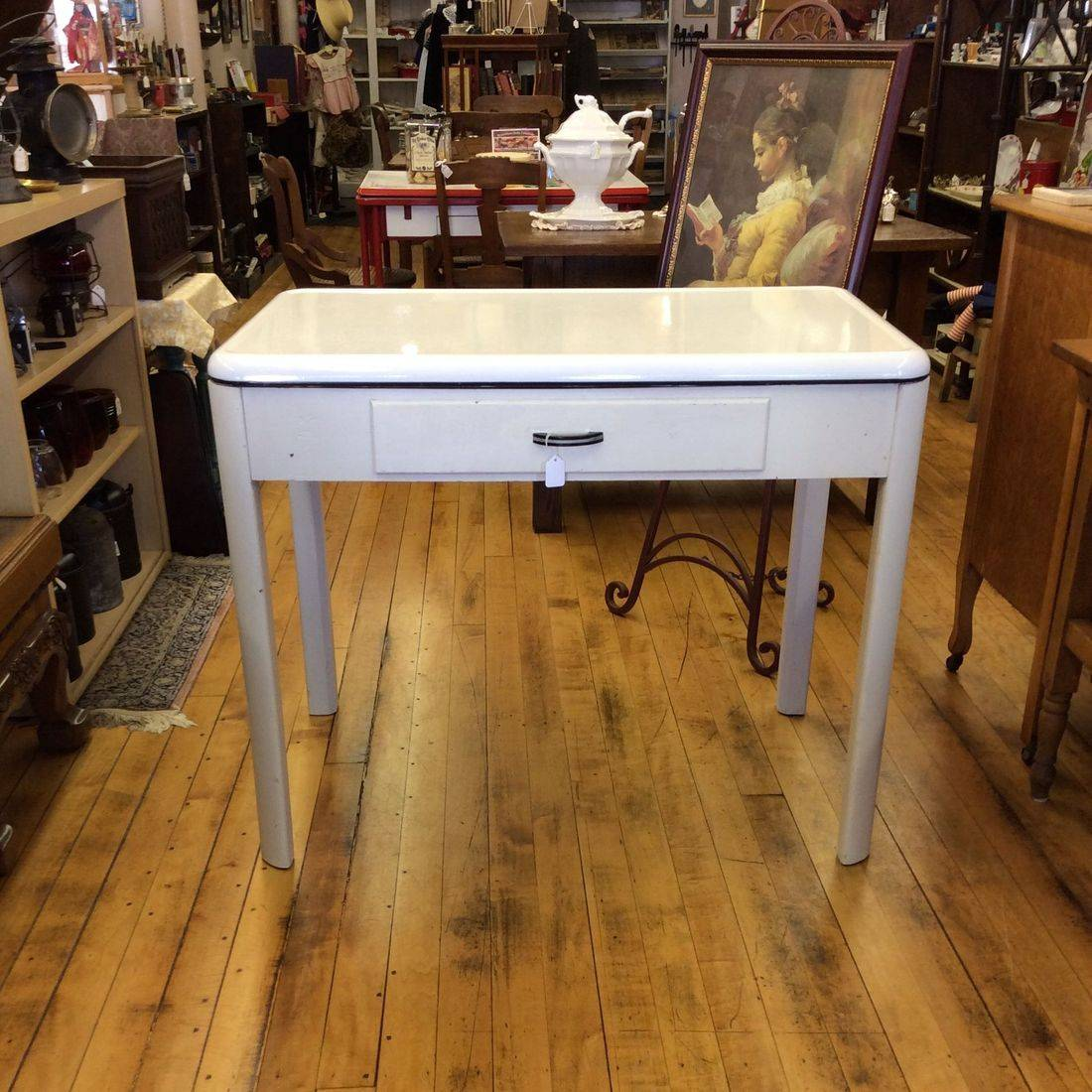 "1937 Crysteel Enamel Top Kitchen/Work Table w/Drawer  39-1/2"" W x 26-1/2"" D x 30"" H.  $75.00"