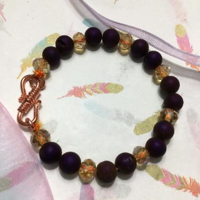 Druzy copper bracelet, women's burgundy bracelet, women's brass clasp