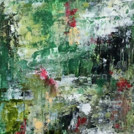 Nature Walk Series #3, oil and cold wax abstract painting, forest oil painting