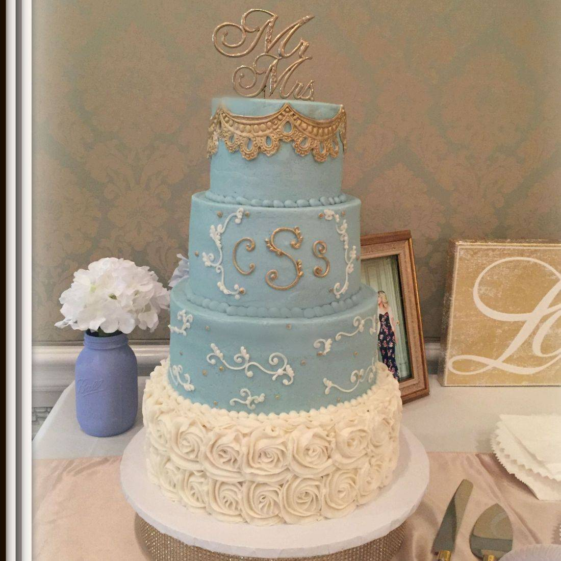 Buttercream Wedding Cake wedgewood blue gold and cream