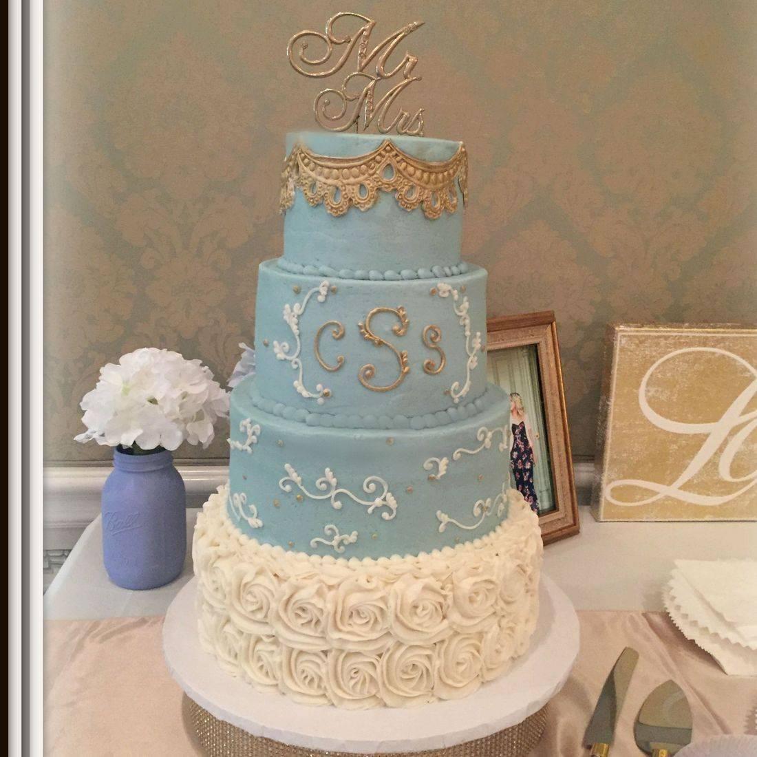 Buttercream Wedding Cake wedgewood blue gold and cream