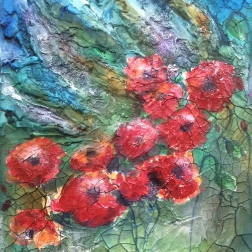 Poppies, Abstract Mixed Media Art by Art And Soul By The Lake