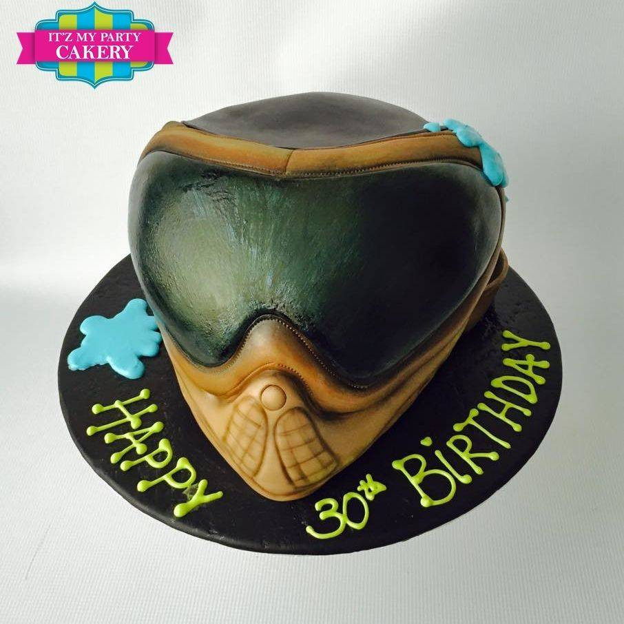 Paint Ball Mask Cake Carved Dimensional Cake Milwaukee