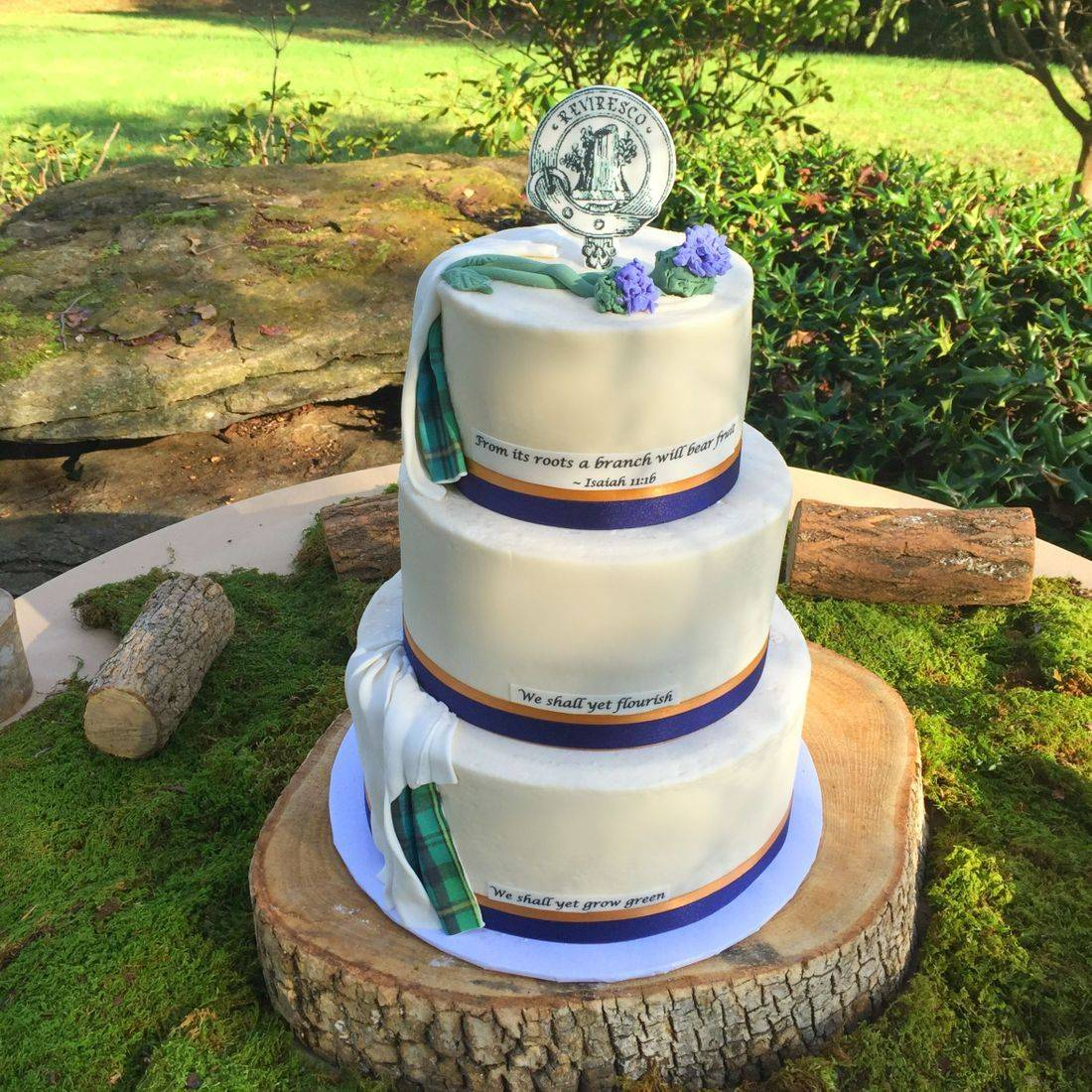wedding cake  buttercream white scottish plaid kilt heather and thistle scotland