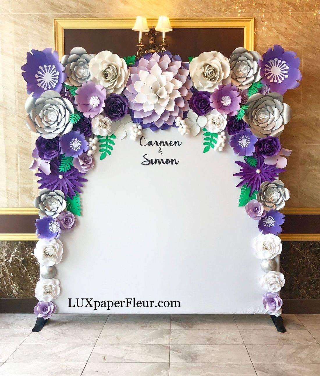 Purple Paper Flower Flower Backdrop rental toronto