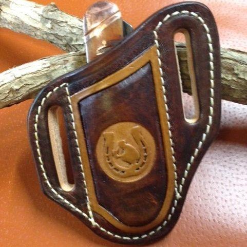 Cowboy praying , tooled knife sheath , case trapper sheath ,