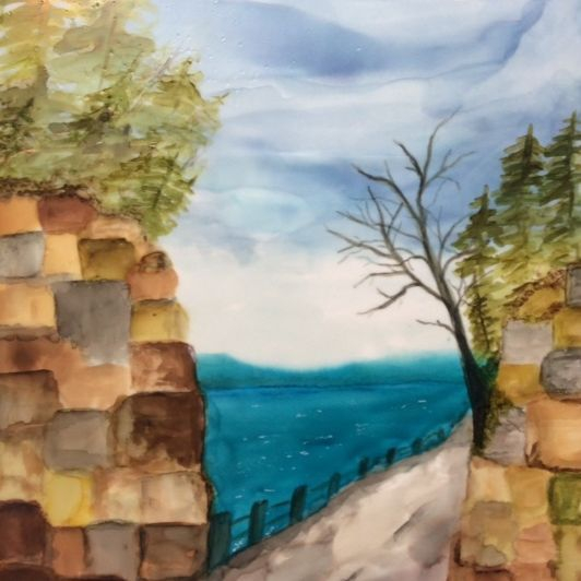 Encaustic and Alcohol Ink  Landscape Painting, Up North, by Barbara Polc